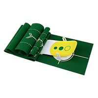 Deluxe 3 Holes Golf Putt Trainer Golfer Putting Putter Simulator Green Mat Gear Equipment (Yellow)