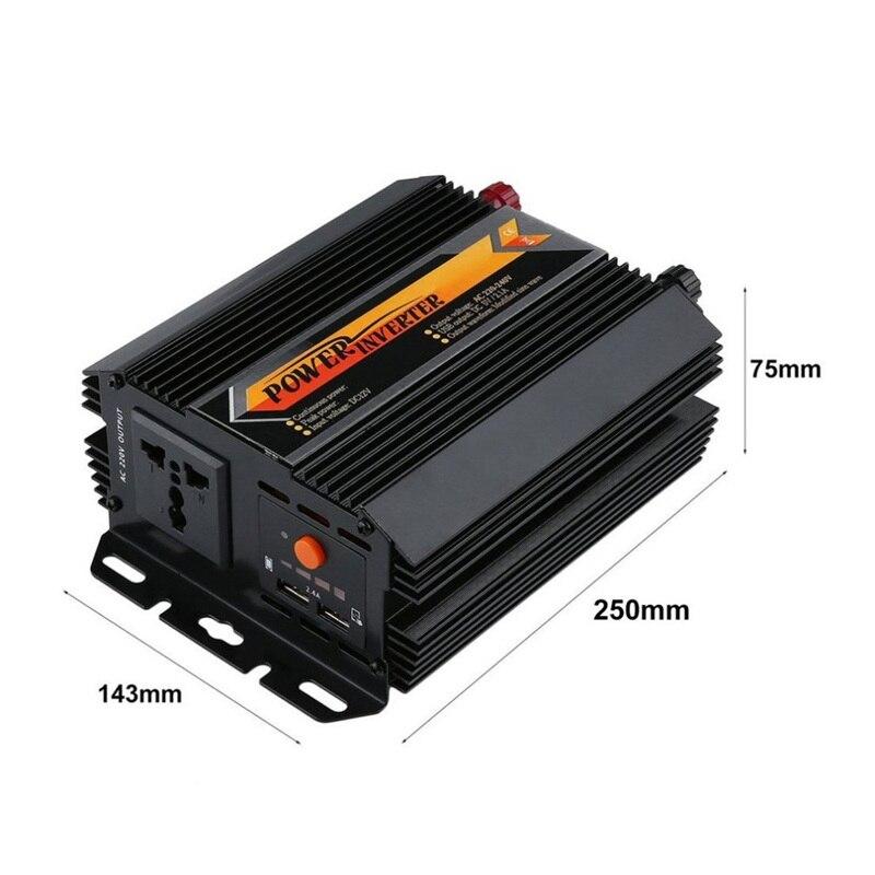 Onduleur de chargeur solaire à onde sinusoïdale 500 W possible DC 12 V-AC 220 V convertisseur d'inverseur de voiture à haut rendement de conversion