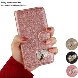 Glitter Flip Case For Huawei P20 Lite Girl Cute Phone Case Huawei P20 Pro Cover Pink Gold Wallet Case For Huawei P20 Lite Pro