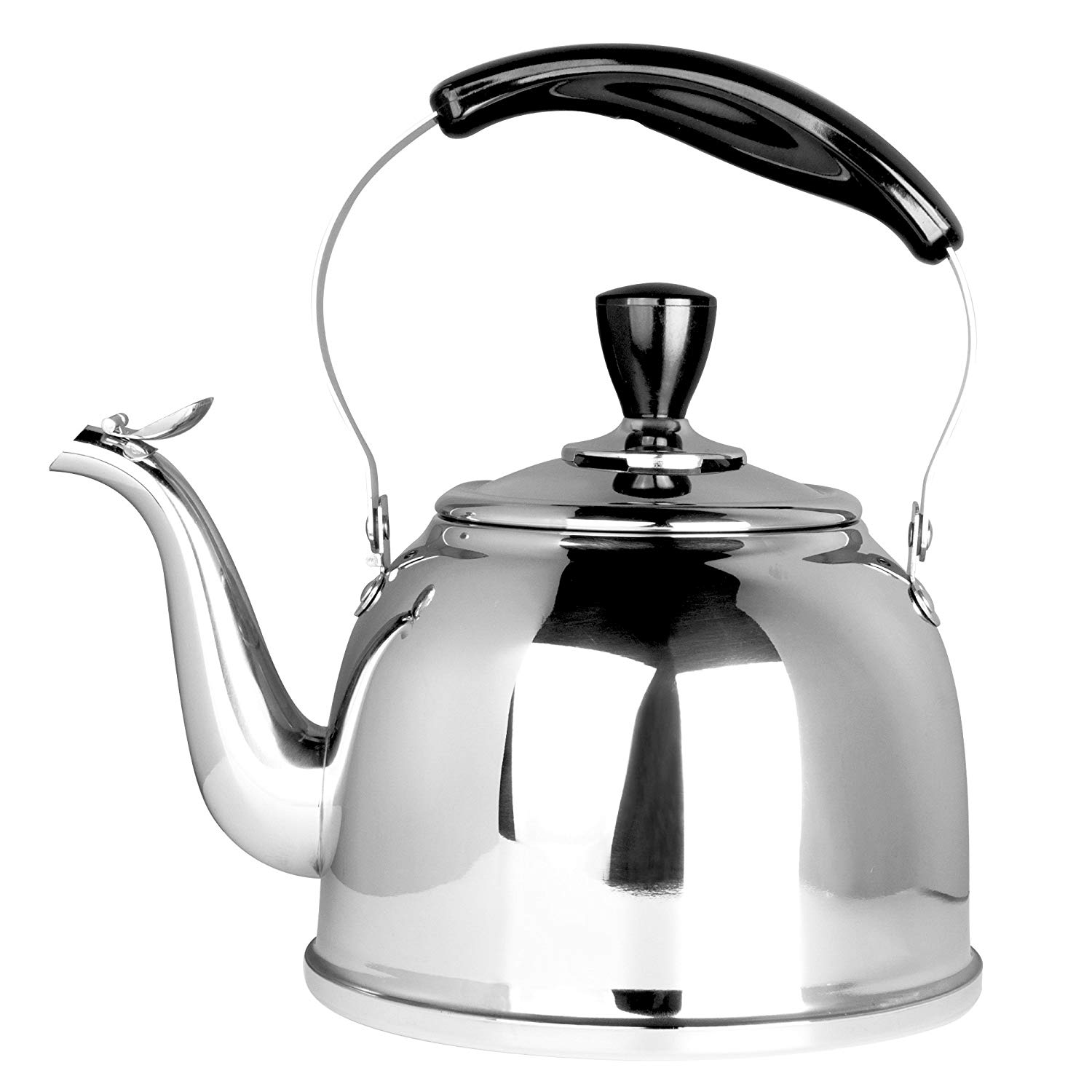 Stainless Steel Whistling Tea Kettle Stove Top Teapot P Thin Base Lightweight Fast Boiling 2L
