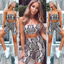 86001f030e3 Womens Summer Casual Tube Top Shorts Bodycon Two Piece Set Print Outfits  Short Jumpsuit Sets