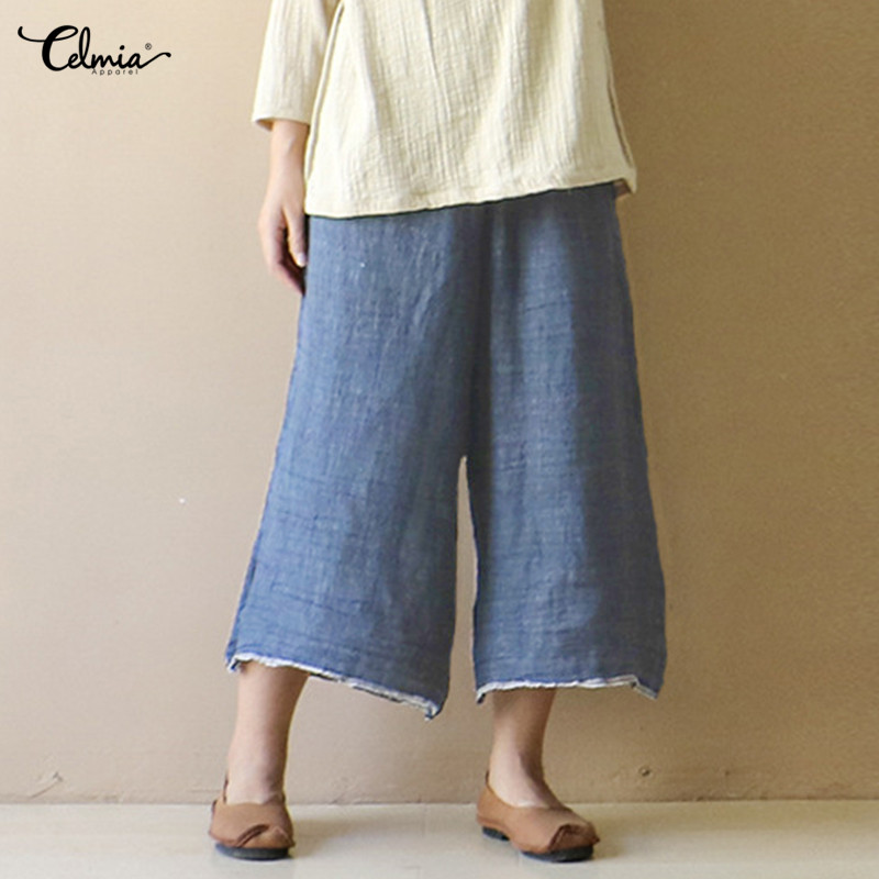 Plus Size 5XL Celmia Women Vintage   Wide     Leg     Pants   2019 Casual Loose Long Denim Trousers Female High Waist Jeans Harem Palazzo