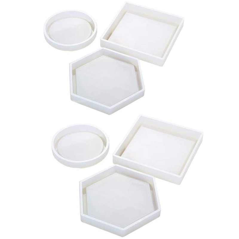 6 Pack Silicone Coaster Molds Including Square, Hexagon, Round Molds - Silicone Resin Mold, Clear Epoxy Molds For Casting With6 Pack Silicone Coaster Molds Including Square, Hexagon, Round Molds - Silicone Resin Mold, Clear Epoxy Molds For Casting With