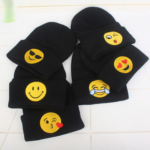 Caldo! Emoji Knit Beanie Cap Adulto Bambino Mens Caldo Di Inverno Del Fumetto Da Sci Baggy Cappello Unisex Di Hip Hop Regolabile