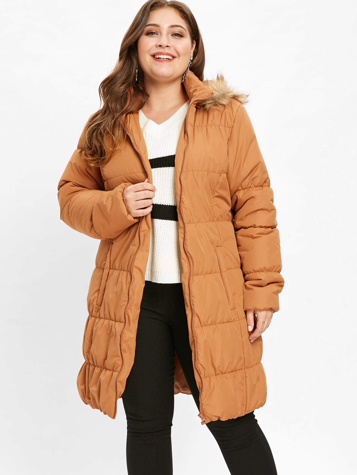 2d8052b0080 Wipalo Women Plus Size Faux Fur Trim Hooded Puffer Coat Loose Fitted Pocket  Casual Solid Long Parka Coat Ladies Winter Warm Coat
