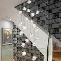Большая DIY Хрустальная люстра  Европейский лобби  верхний пол  светодиодный  декоративные лампы  современный стеклянный интерьер  лестница  ...
