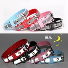 PU Leather Dog Cat Collar With Reflective Collars for Small Medium Dogs Puppy Neck Strap Pet Accessories Chihuahua XXS/XS/S/M shiny glitter bling powder dog cat collar pu leather puppy collars for small medium dog neck strap adjustable collar xs s m l