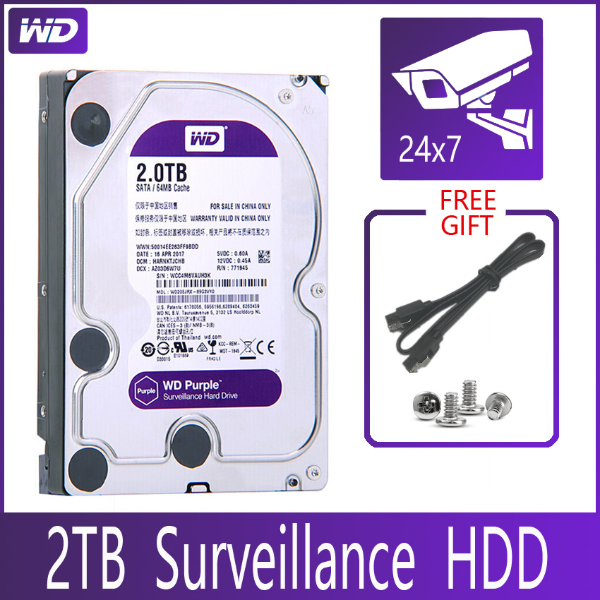 WD PURPLE Surveillance 2TB Hard Drive Disk SATA III 64M 3 5 HDD HD Harddisk For