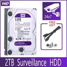 """WD фиолетовый жесткий диск наблюдения 2 ТБ SATA III 64M 3,5 """"HDD HD Жесткий диск для системы безопасности видеорегистратор DVR NVR CCTV"""