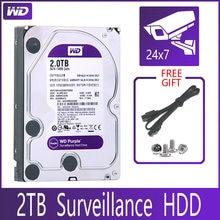 WD-disco duro de vigilancia SATA III de 2TB, disco duro HDD HD de 3,5 pulgadas y 64M para sistema de seguridad, grabador de vídeo DVR NVR CCTV, color morado