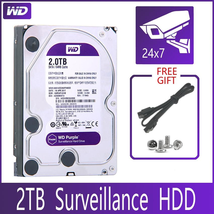 WD фиолетовый наблюдения 2 ТБ жесткого диска SATA III 64M 3,5