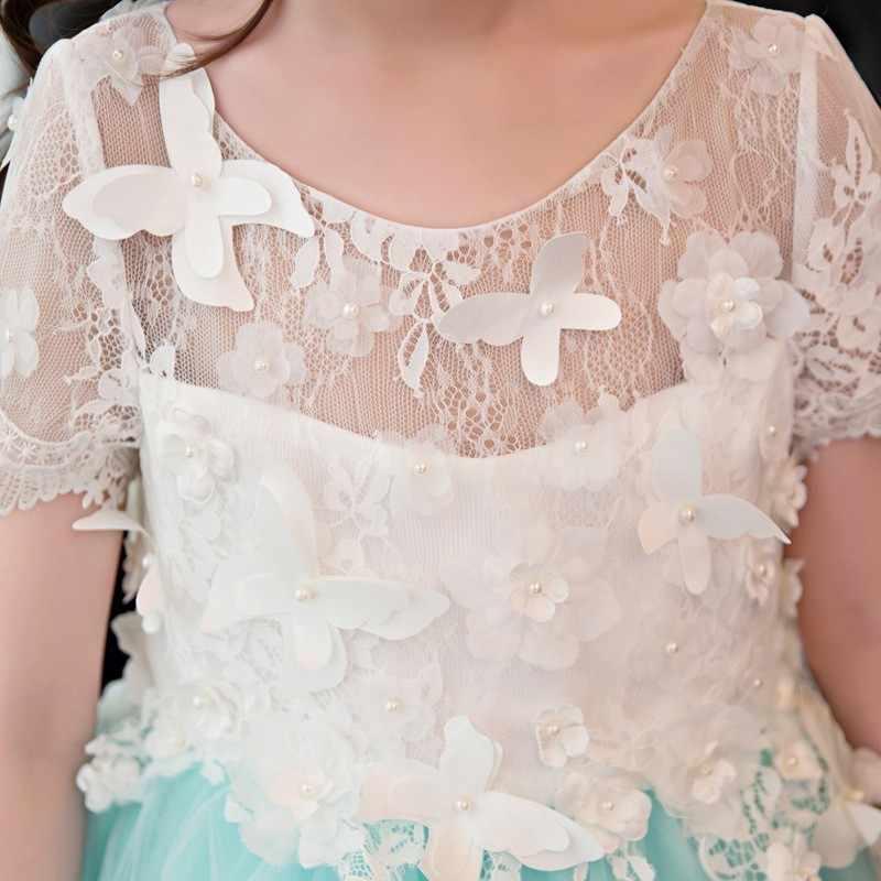 מנטה ירוק נסיכת ארוך בנות תחרות שמלות 2019 קצר שרוול תחרה פרח ילדה שמלות לחתונות כדור שמלות עבור בנות