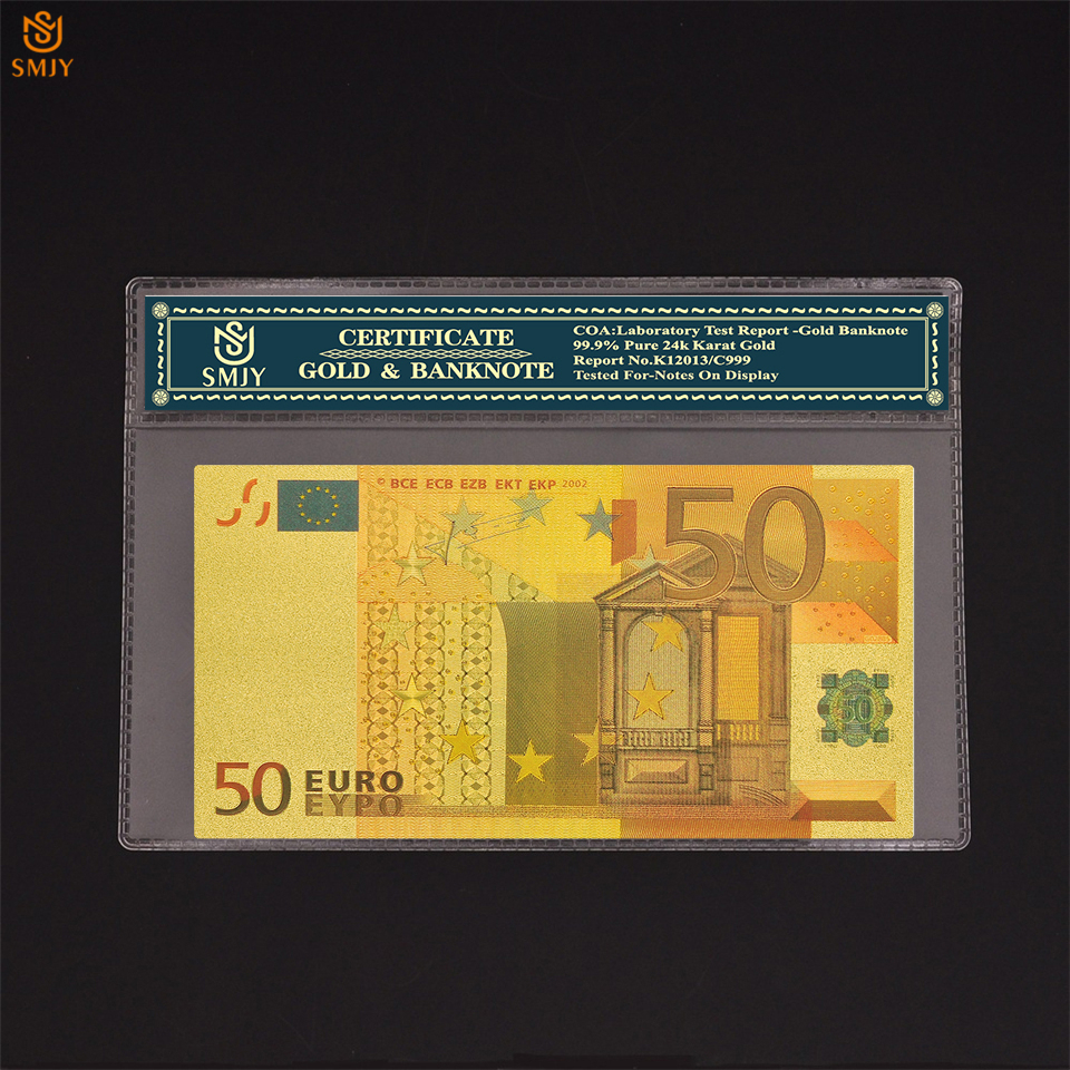 Colored <font><b>Euro</b></font> Gold <font><b>Banknotes</b></font> 50 <font><b>Euro</b></font> <font><b>Banknotes</b></font> Plated 24k Gold Paper Money For Collection Patriot Memorial Gift image