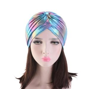 Image 3 - Women Glitter Turban Caps Muslim Head Rainbow India Cap Headwrap Chemo Hair Loss Hat Islamic Headscarf Bonnet Beanies