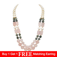Lii Ji Natural Rose Quartz ,Labradorite,Freshwater Pearl 7 8mm Hematite 2 Rows Necklace 925 Sterling Silver Gold Color Clasp