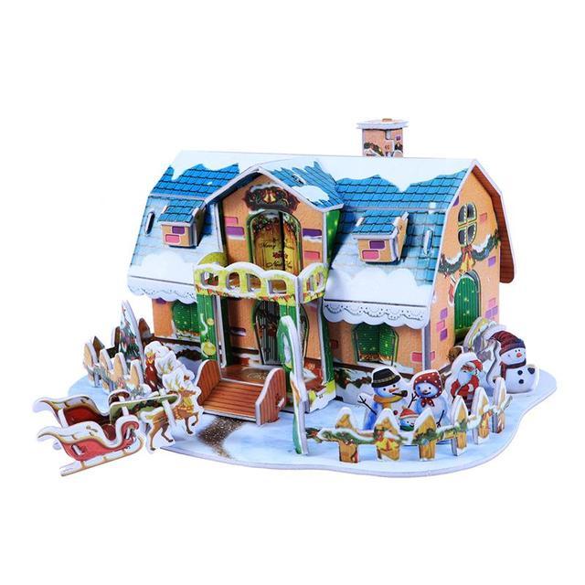 1pc 3d Puzzle Dollhouse Cartoon Diy Puzzle Paper Board Colorful
