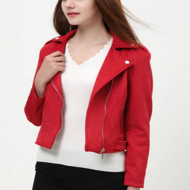 Women New Europe   Suede   Short Style   Leather   Clothing Ladies' Slim Short Style   Leather   Jacket Deerskin Jackets