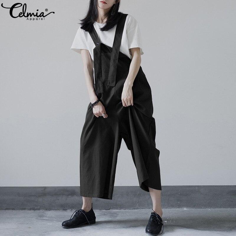 Celmia 2018 Vintage Spaghetti Straps Jumpsuits for Women Wide Leg Bodysuits Casual Loose Rompers Plus Size Bib Linen Playsuits