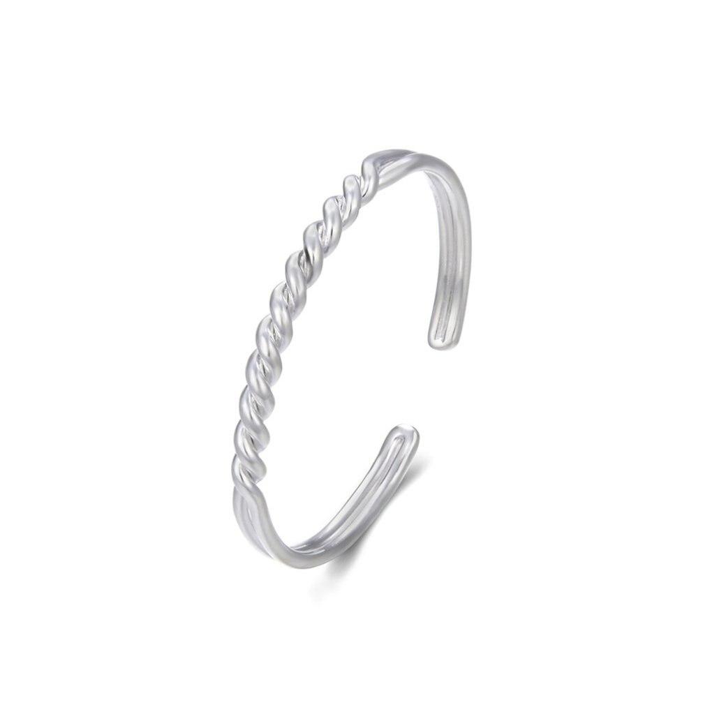 Fashion Women Silver Plating Circle Bangle Bracelet Gift Charming Oval Opal Bracelet Wristband