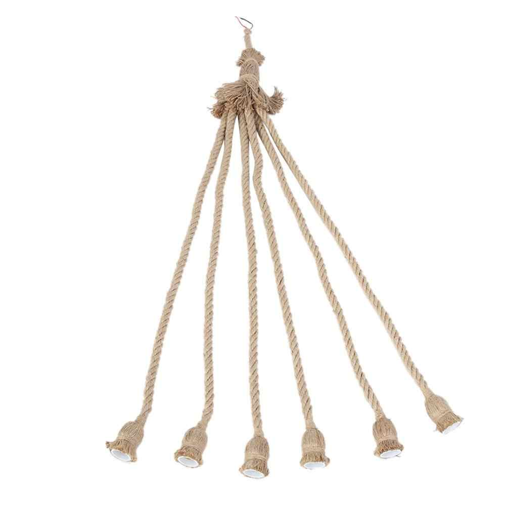 E27 Lamp Base 1m Hemp Rope Cord Electric Wire DIY Pendant Decorative Bulb with 6 Holder New 2019