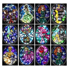 Needlework Diy Diamond Painting Cartoon Stained Glass Cross Stitch Embroidery Full Square Illustration Rhinestone Mosaic