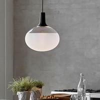 Danimarka Tasarımcı Oval aydınlatma avize lamba LED Cam Kolye Işıkları Oturma Odası Restoran Bar Dekor aydınlatma armatürleri Armatür