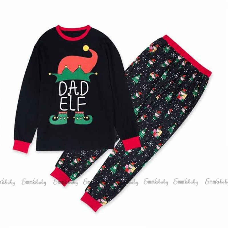 ครอบครัวคริสต์มาสชุดนอน PJs ชุด Xmas ชุดนอนชุดนอนพ่อแม่เด็กชุดชุด