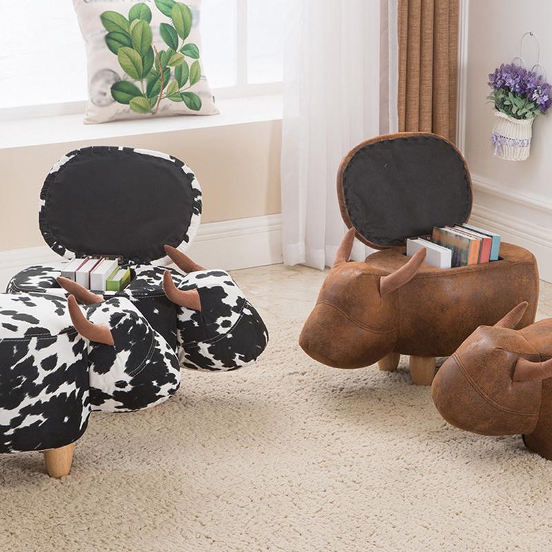 Mignon Animal Style bovins tabourets chaise en bois avec boîte de rangement changement chaussure banc enfant canapé meubles de rangement décor à la maison banc