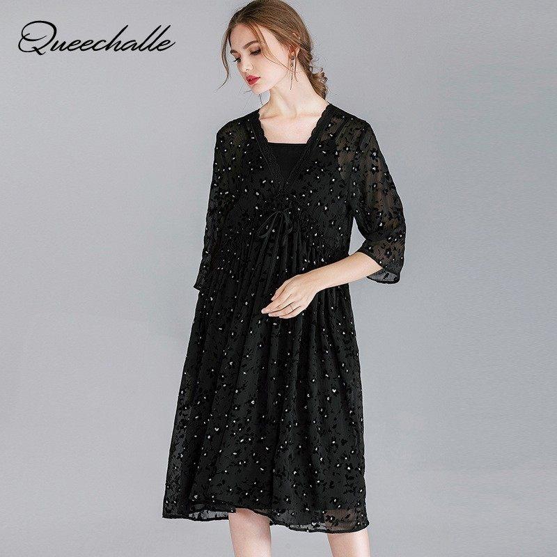 Uitgelezene 2019 frühling Damen Lose fit polka dot chiffon Kleid Elegante GB-23