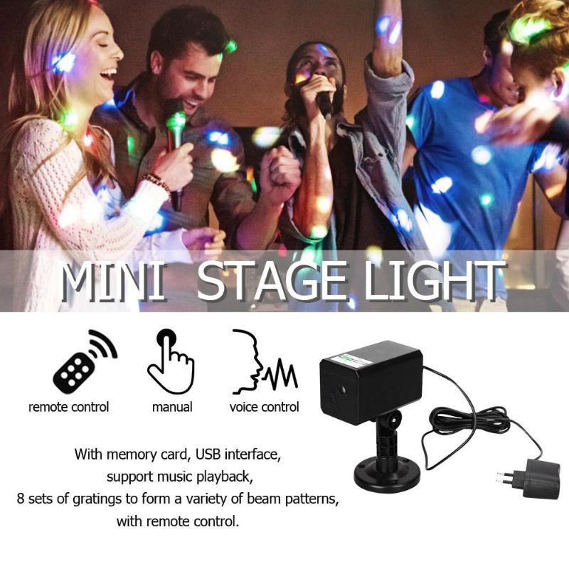 Mini Stars Stage Light LED  Laser Projector Voice Control Stage Flash Light DJ Disco KTV Party Club Lamp Red Green Light