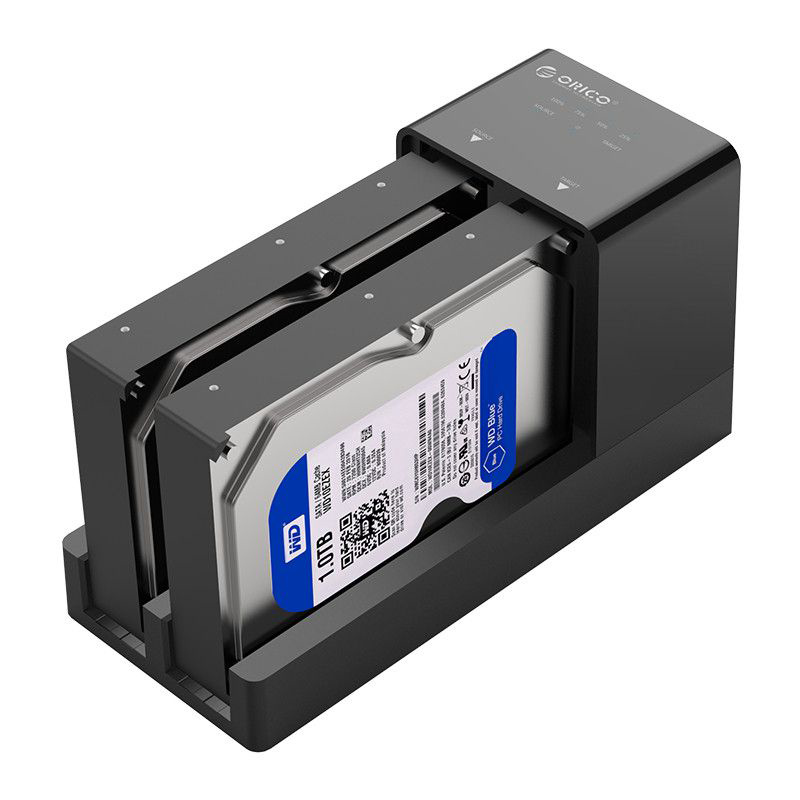 Orico 2.5 3.5 Sata Hdd Enclosure Docking Station Offline Clone Super Speed Usb 3.0 Hard Drive Support 10Tb 2 Bay Black 6528Us3
