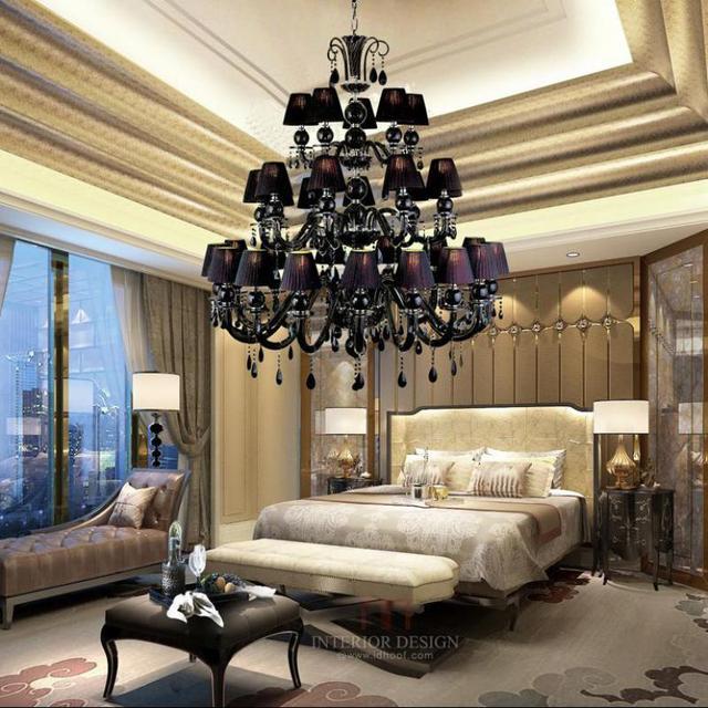 Primitive 30 arms black glass chandelier Led Lustres de cristal vintage church chandelier for living room hotel light Pendientes