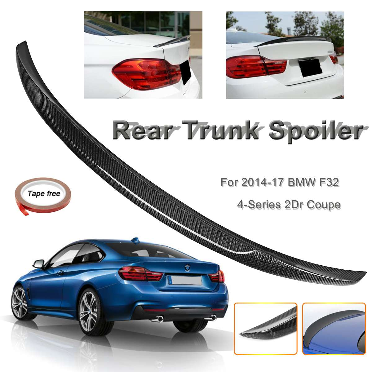 Full Real Carbon Fiber Material Rear Trunk Spoiler Fits for BMW F32 4-Series 2 Doors for Coupe 2014-2017 P Style WingsFull Real Carbon Fiber Material Rear Trunk Spoiler Fits for BMW F32 4-Series 2 Doors for Coupe 2014-2017 P Style Wings