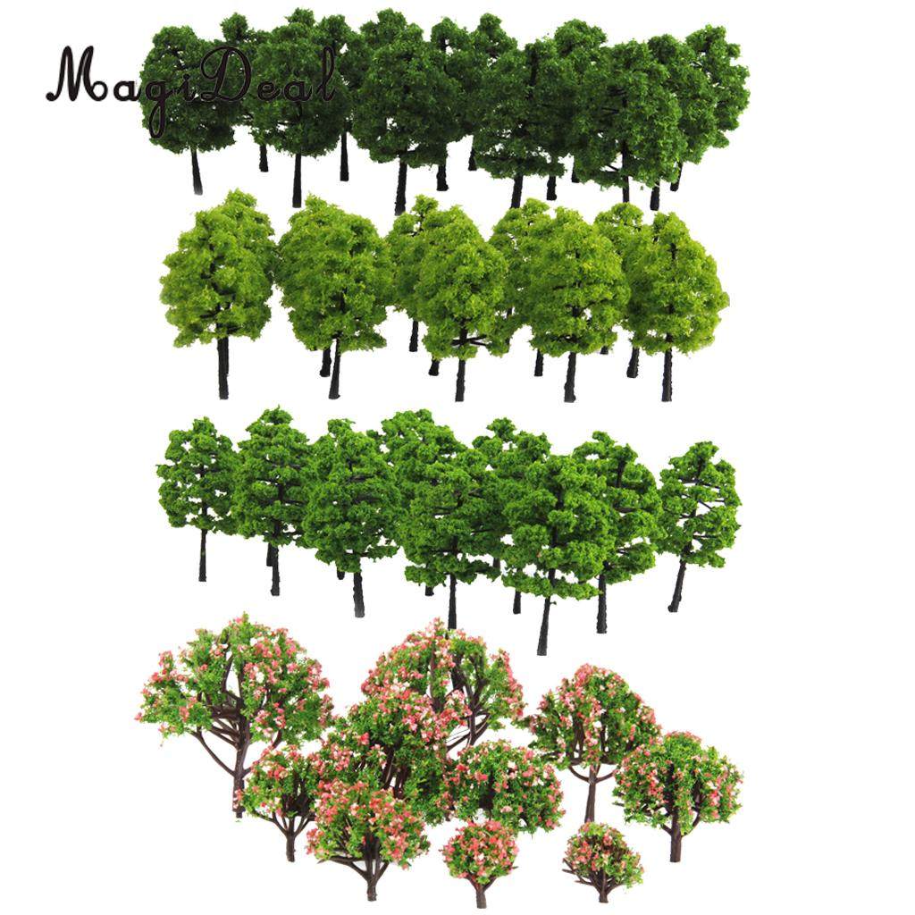 70Pcs Plastic Model 3-9cm Trees Layout Train Railway Diorama Wargame Landscape Scenery HO OO Z TT Multi Scale Toys for Children