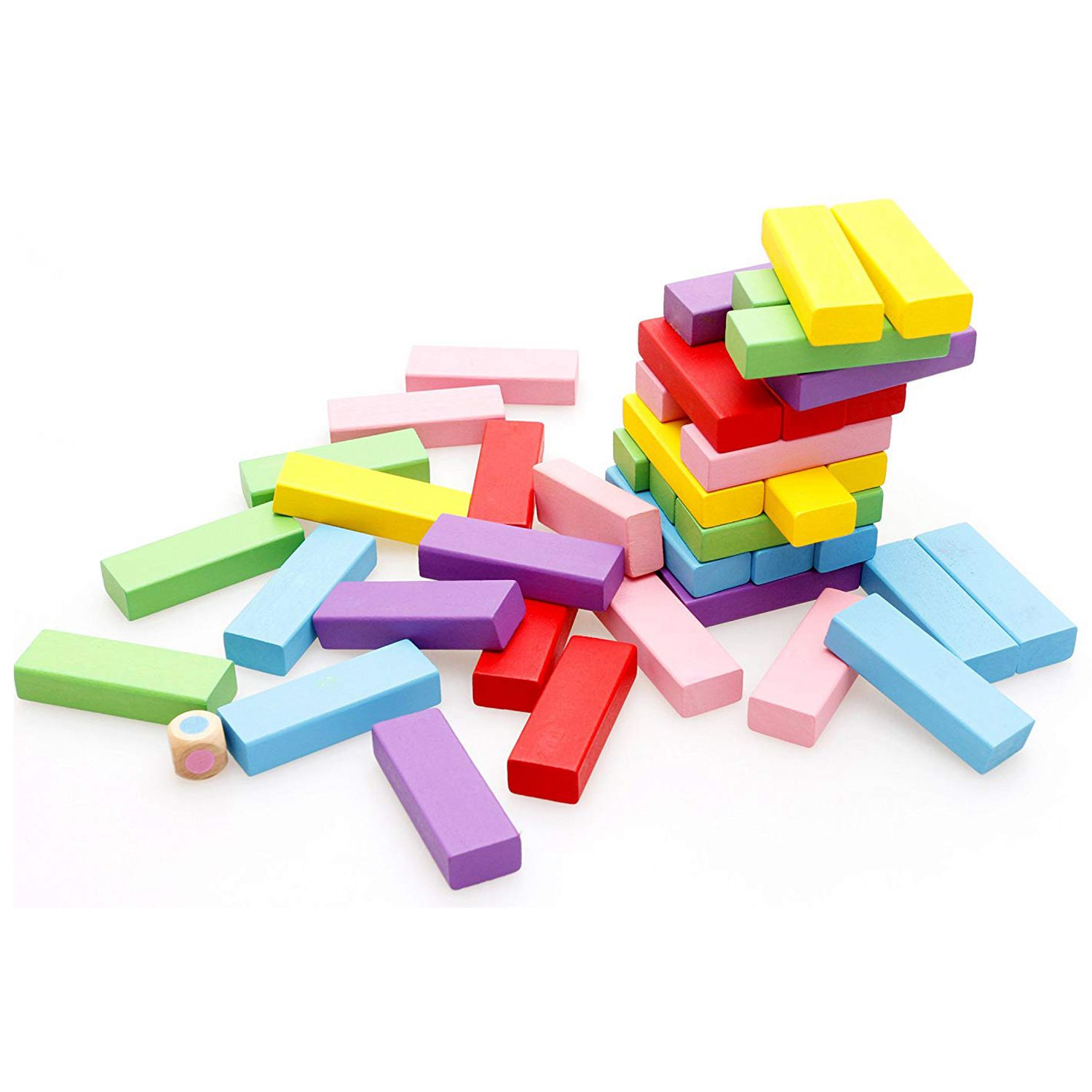 Wooden Stacking Board Games Building Blocks for Kids 48 Pieces in Blocks from Toys Hobbies