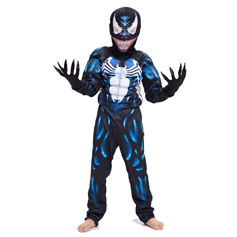 New Arrival Child Venom Muscle Costume Spider-man Boys Superhero Cosplay Halloween Fantasia Fancy Dress