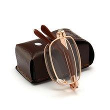 Nova unissex mulher dobrável óculos de leitura metal + 1.00 1.50 2.00 2.50 3.00 3.50 4.00 diopter com caso