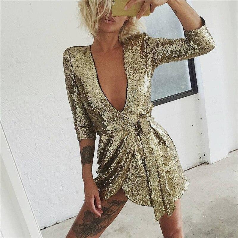 Robe à paillettes dorées femmes 2018 automne col en V profond robe Sexy tenue De club Mini robes courtes soirée soirée Vestidos De Fiesta