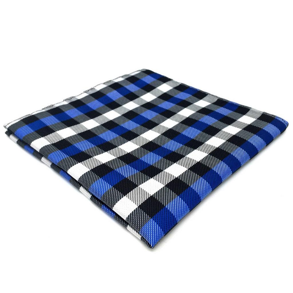 EH32 Checks Blue White Black Mens Pocket Square Fashion Handkerchief Dress Hanky