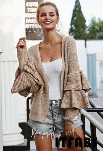 Thefound 2019 New Women Ruffle Long Sleeve Knitted Cardigan Sweater Pocket Outwear Coat Jacket