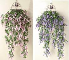 80cm Artificial wall hanging fake flower vine DIY wedding living room bunch decor flower basket rattan lavender wisteria
