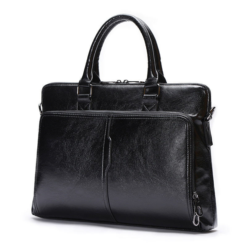 New Double Layer Design Men's Briefcase Soft High-grade PU Leather Male Business Bag 13