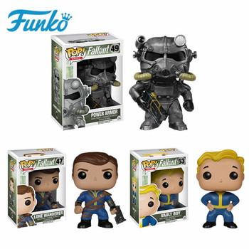 Funko Pop Gaming Heads Fallout # 47 Vault Boy #49 Power Armor Action Figure Toys for Birthday Gift Collection For Movie Fans funko pop star wars figure toys darth vader luke skywalker leia action figure toys for friend birthday gift collection for model