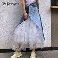 Джинсовая женская юбка-миди TWOTWINSTYLE, необычная летняя повседневная юбка голубого цвета, с сеткой, с высокой посадкой, новинка, 2019