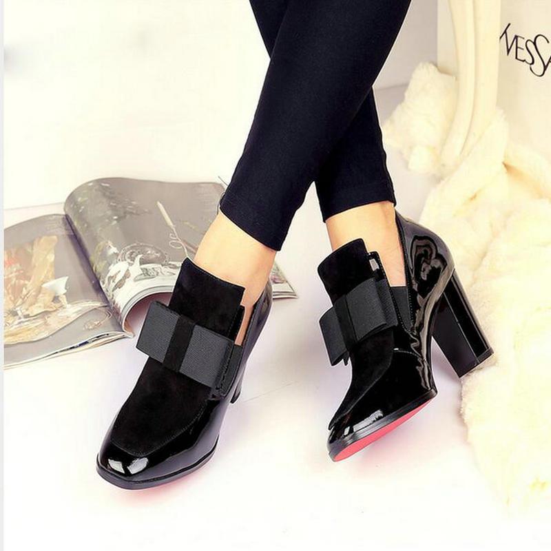 Nouveau 100% rouge bas semelle talons hauts pompes bout carré en cuir véritable chaussures femmes dames noir Sexy chaussure femme17620453