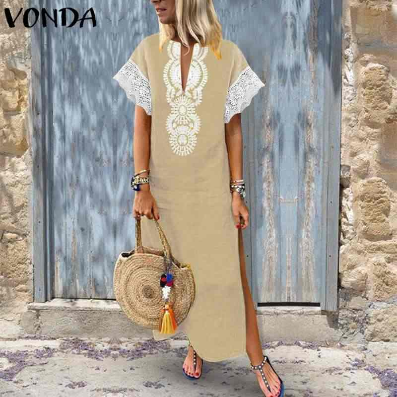 be82d5ee3c VONDA Women Sexy Maxi Long Dress 2019 Summer Vintage V Neck Short Sleeve  Bohemian Split Lace