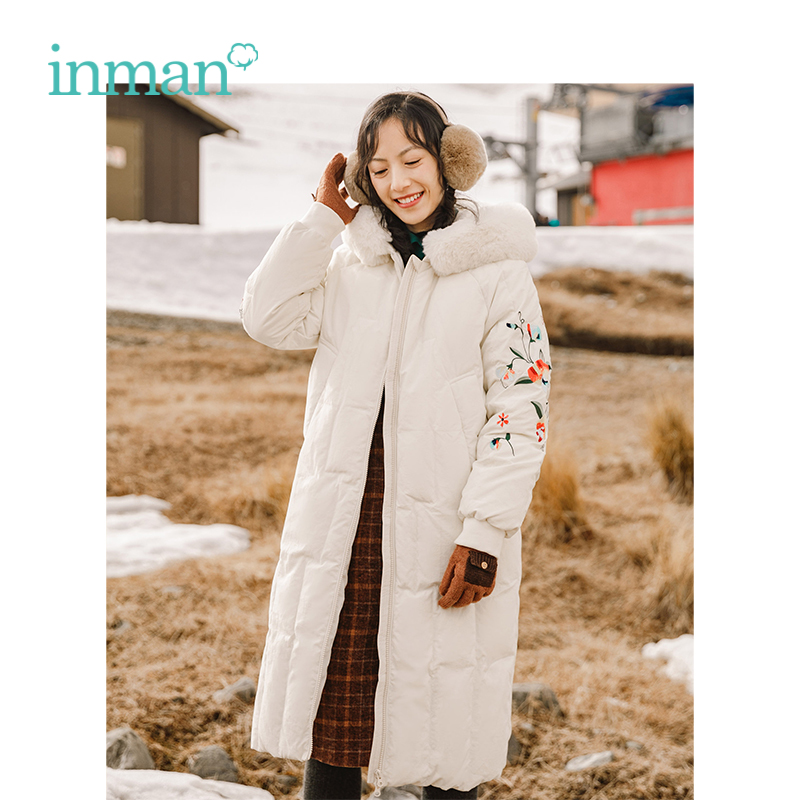 INMAN Winter New Arrival Female Literary Embroidery Fur Collar Fit Long Section Woman   Down     Coat