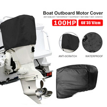 62*35*61cm Waterproof Boat Outboard Motor Hood Cover Engine Protector For 100HP Engines Black