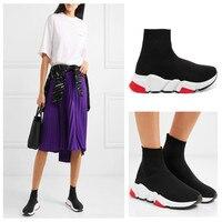 Высокие кроссовки, вязаная женская обувь, женская модная брендовая обувь без шнуровки, женская обувь для влюбленных, женская обувь на плоск