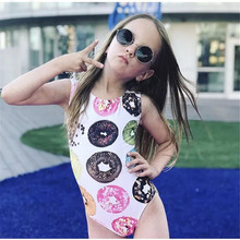 PUDCOCO Kids Baby Girls Toddler Donut Swimsuit Swimwear Bathing Suit 1-6T